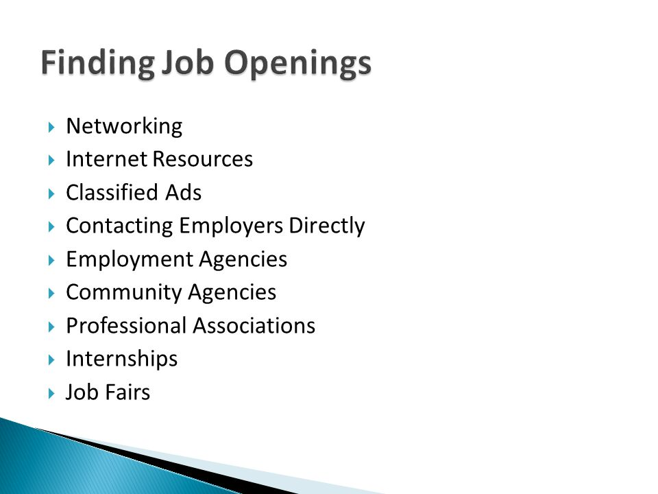 Finding Job Openings Networking Internet Resources Classified Ads
