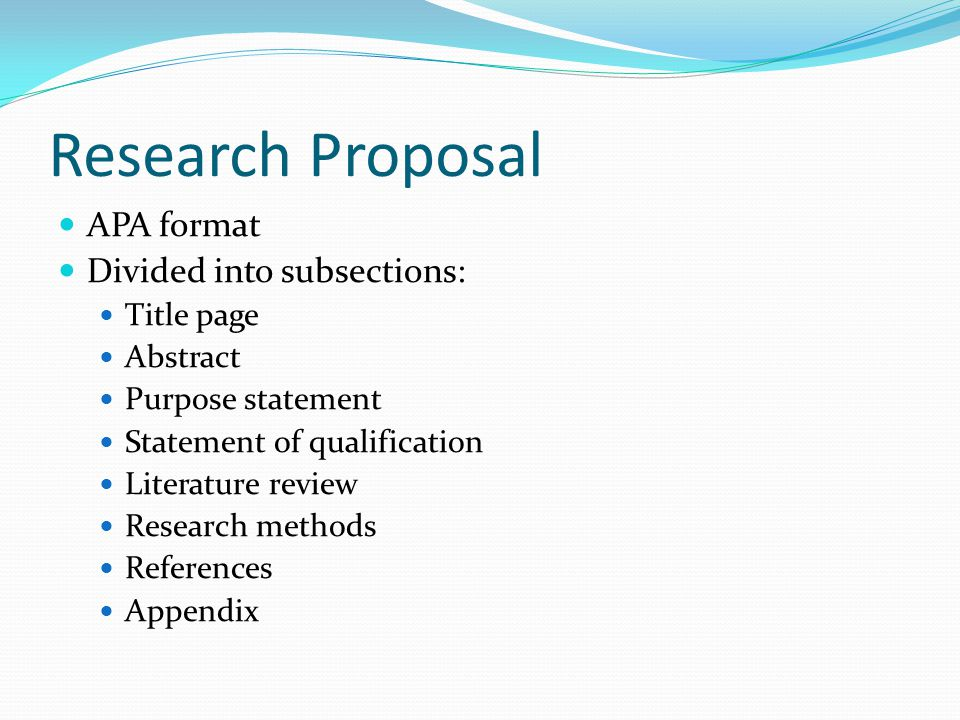 research proposal in apa format