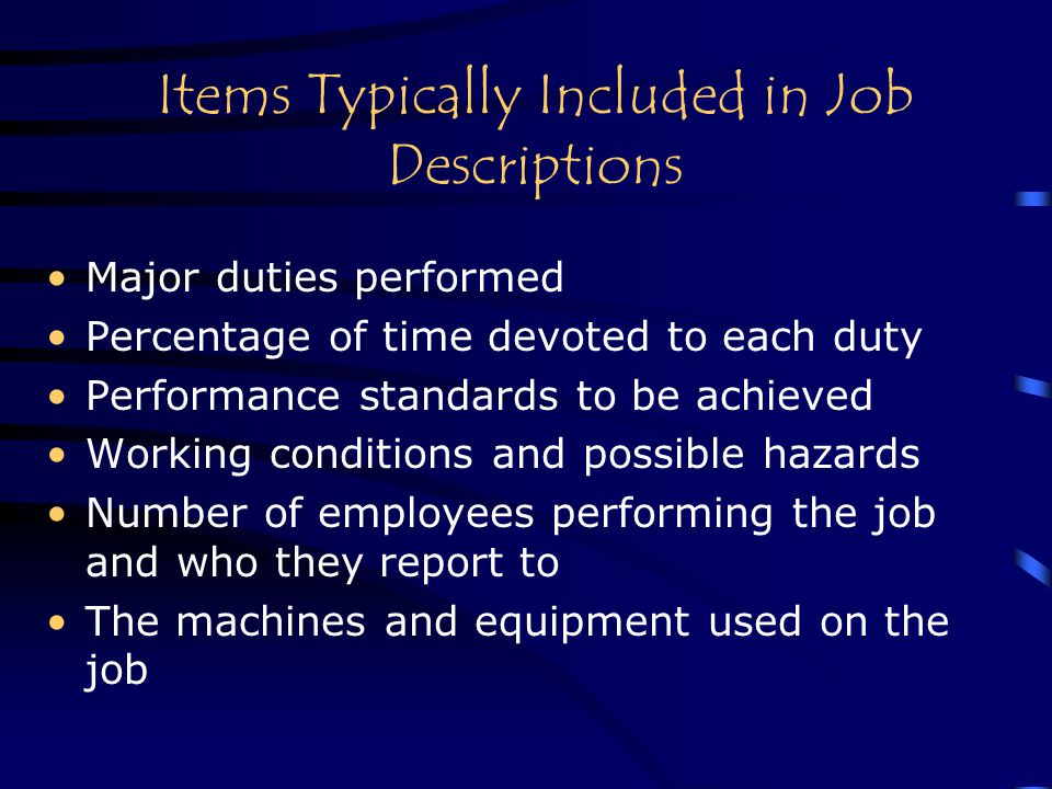 Items Typically Included in Job Descriptions