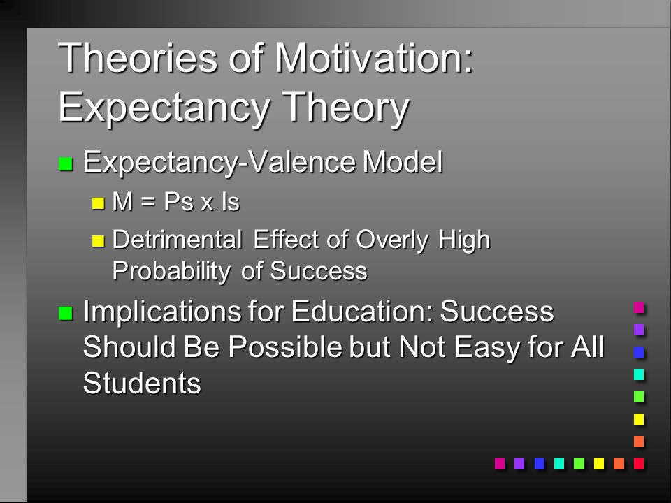 implications of expectancy theory He implication of adequate motivation on workers productivity in an organisation by ehiorobo immagbe robinson miie, ieng, gcgi, mimc, pgd mgt, mba (unical)  the purpose of this dissertation is to examine the implication of adequate motivation on workers productivity in an organisation especially in the nigerian  271 vroom's expectancy.