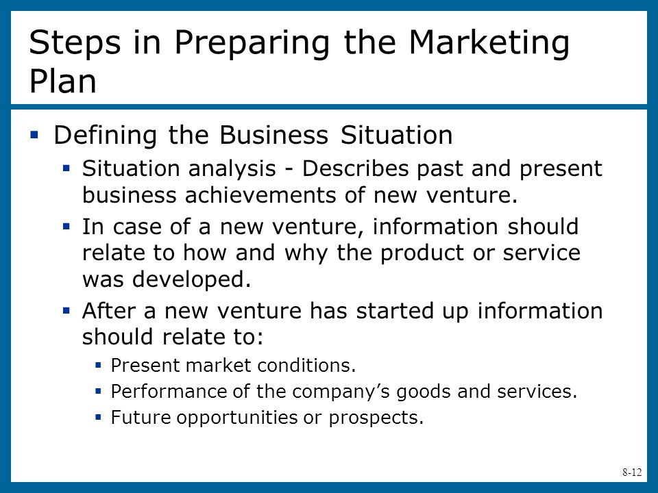 Steps in Preparing the Marketing Plan