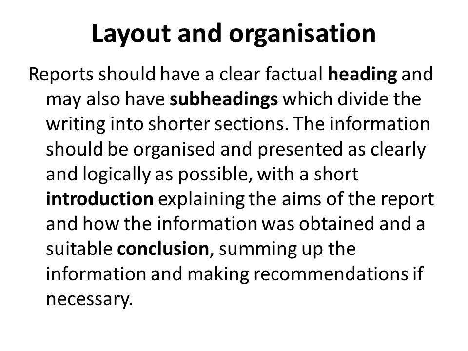 5 Layout And Organisation  Layout Of A Formal Report