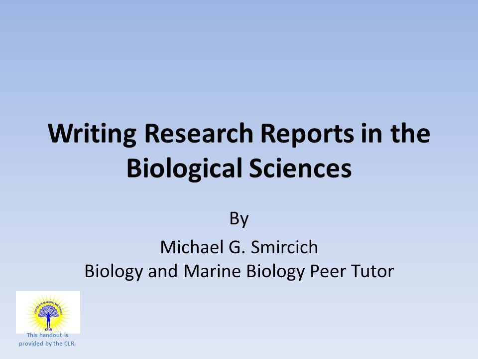 Writing papers in biological sciences