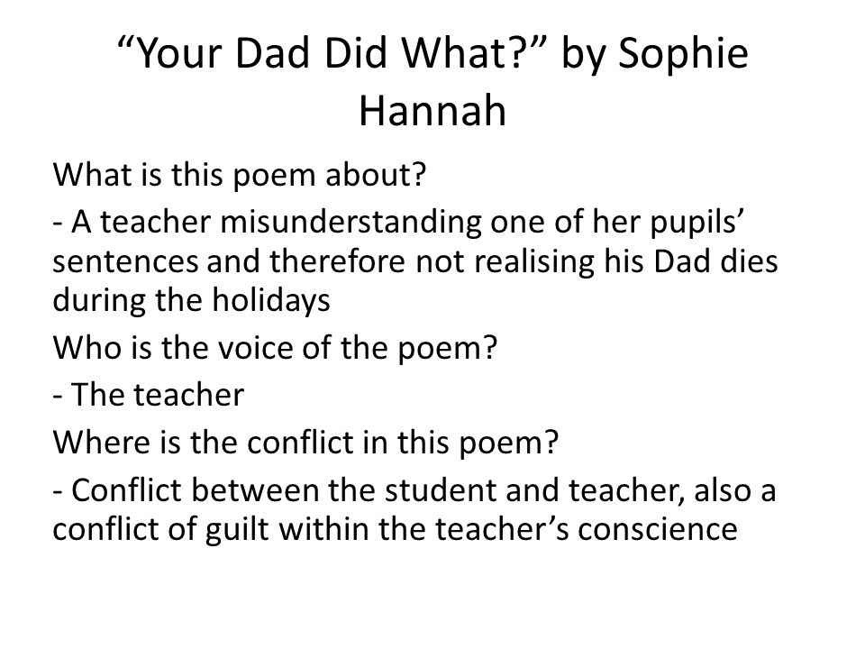 Your Dad Did What by Sophie Hannah