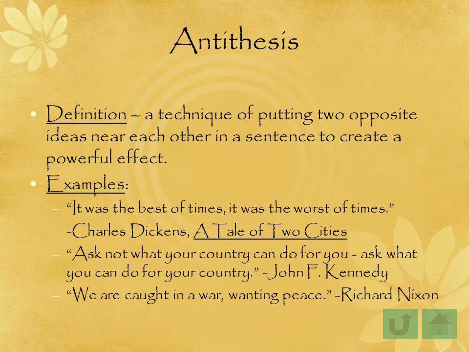 in antithesis Antithesis works best when it is used in conjunction with parallelism (successive phrases that use the same grammatical structure), since the repetition of structure makes the contrast of the content of the.