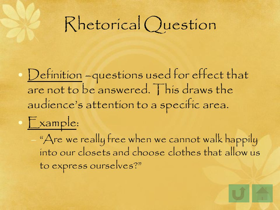 using rhetorical questions in essays Essay questions - the expert essay writers at uk essays have made some free example essay questions available in a whole range of different subjects.