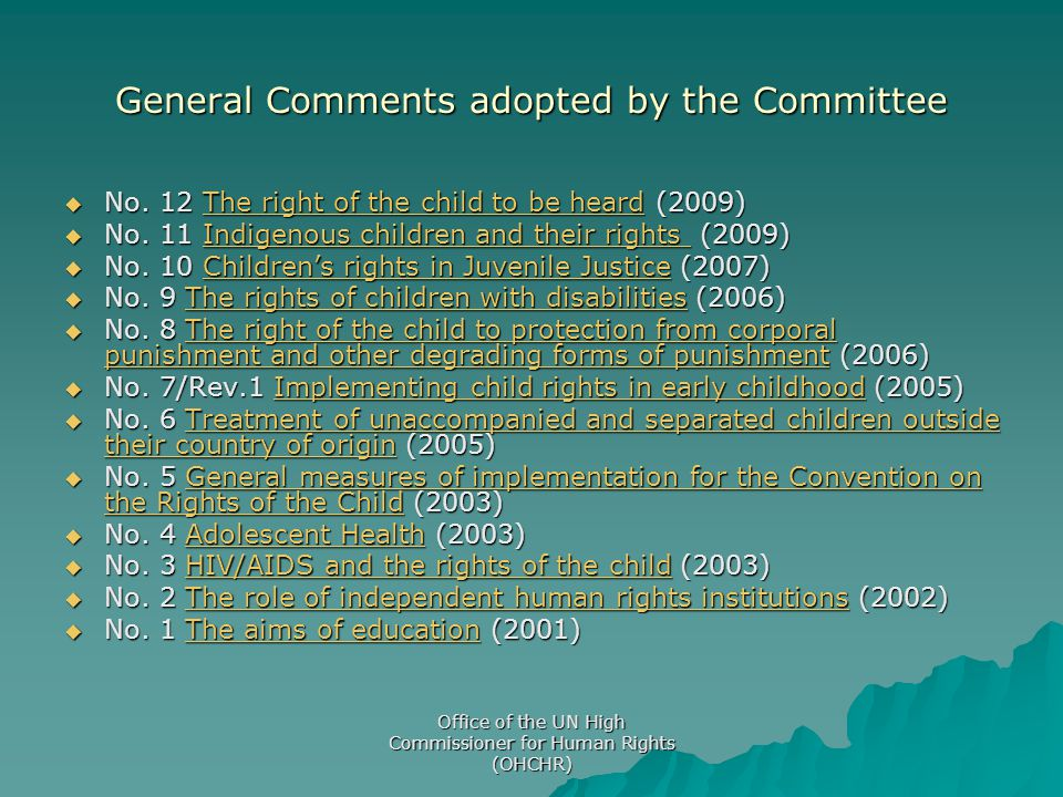 General Comments adopted by the Committee