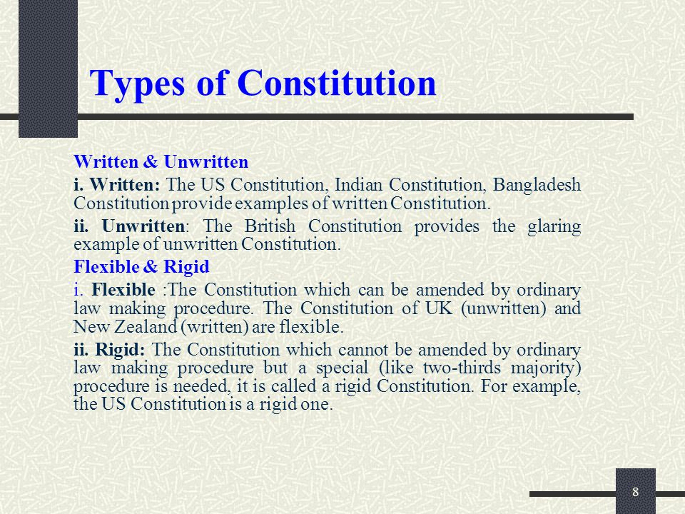 'the uk constitution is neither flexible The constitution of england is a typical example of a flexible constitution the british parliament is competent to pass, amend or repeal any constitutional law in an ordinary legislative.