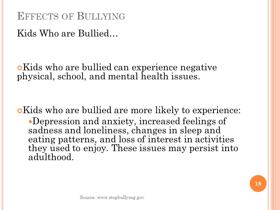 the negative effects of bullying on Workplace bullying is a growing problem in the united states learn how bullying impacts the victims, their co-workers and company profits.