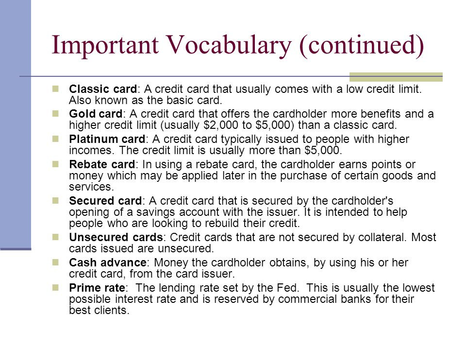 Important Vocabulary (continued)