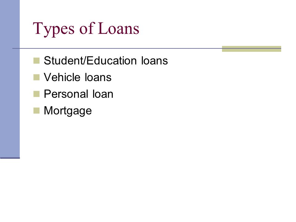 Types of Loans Student/Education loans Vehicle loans Personal loan