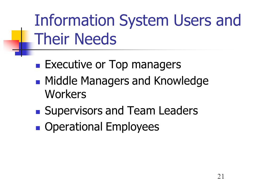 Information System Users and Their Needs