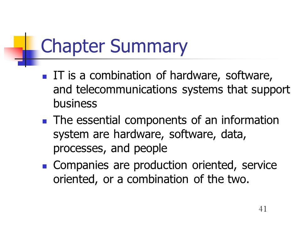 Chapter Summary IT is a combination of hardware, software, and telecommunications systems that support business.