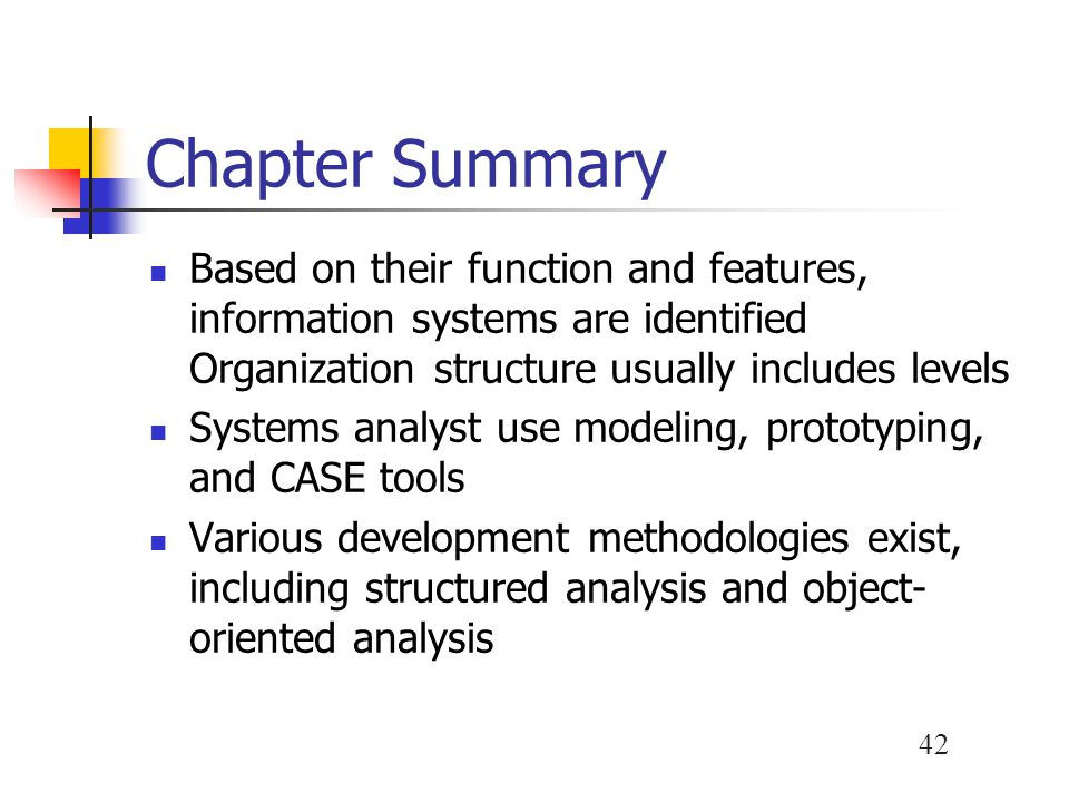 Chapter Summary Based on their function and features, information systems are identified Organization structure usually includes levels.