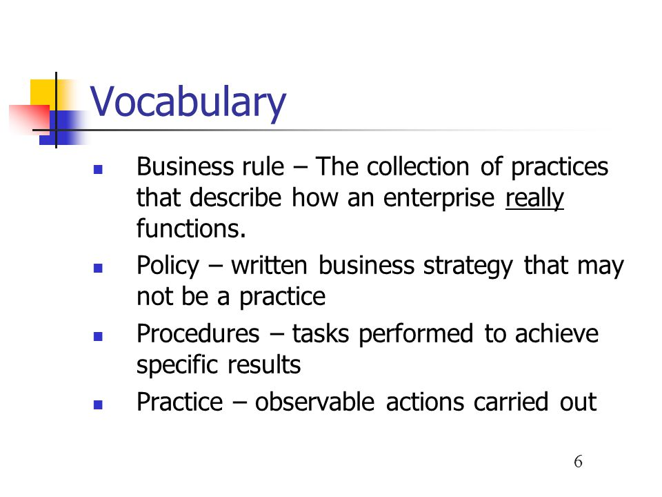 Vocabulary Business rule – The collection of practices that describe how an enterprise really functions.