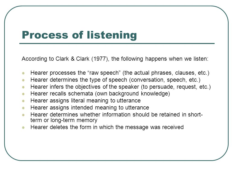 Process of listening According to Clark & Clark (1977), the following happens when we listen: