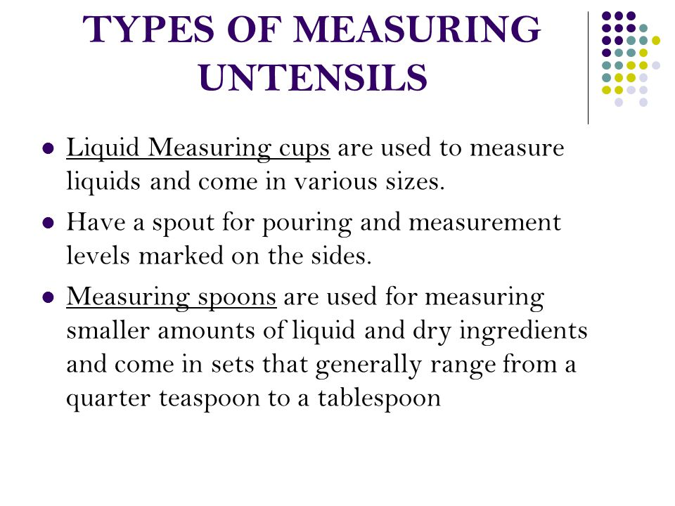 Types Of Measuring Instruments : Kitchen equipment the names and uses of various kinds