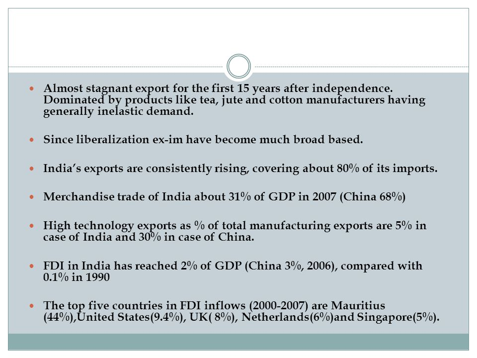 Almost stagnant export for the first 15 years after independence