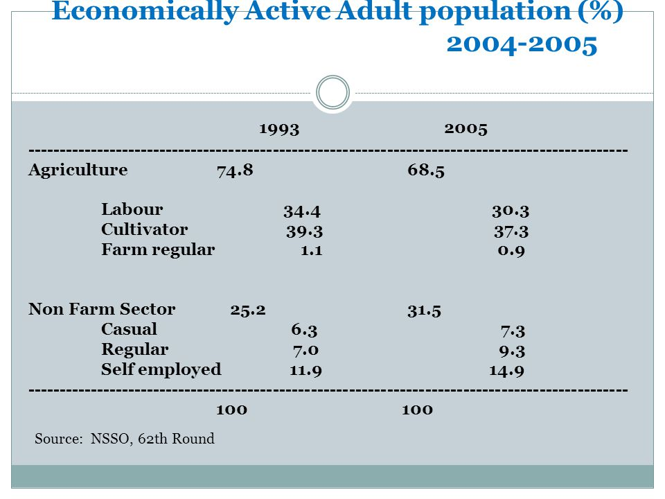 Employment Share: Economically Active Adult population (%) 2004-2005