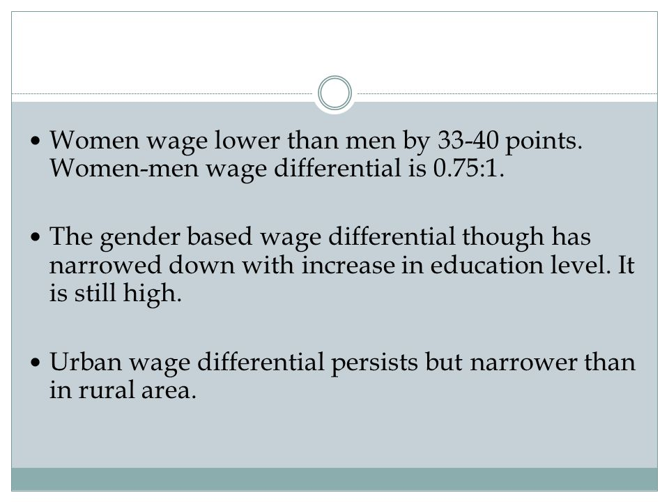 Women wage lower than men by 33-40 points