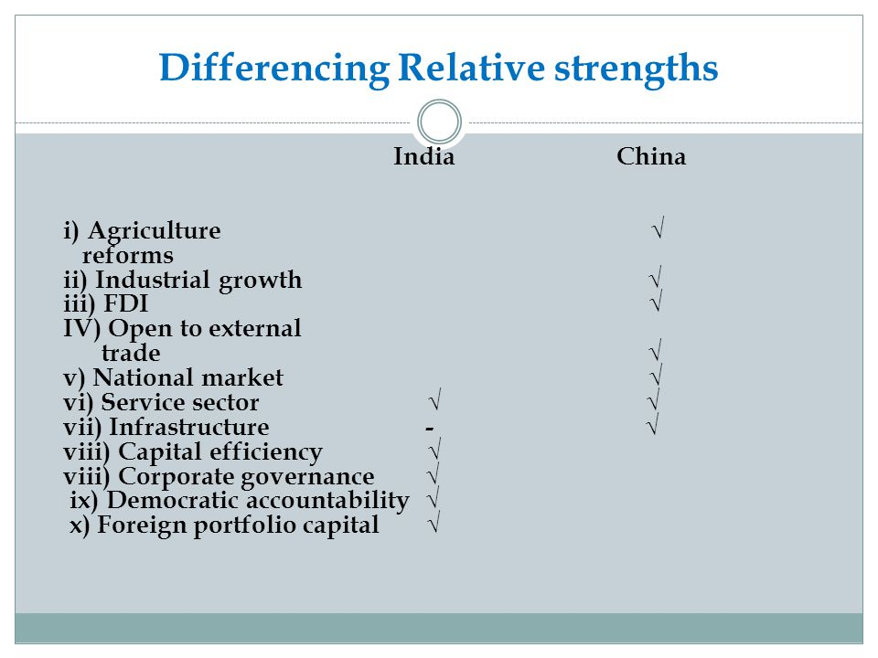 Differencing Relative strengths