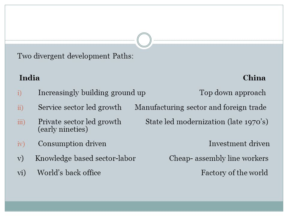 Two divergent development Paths: