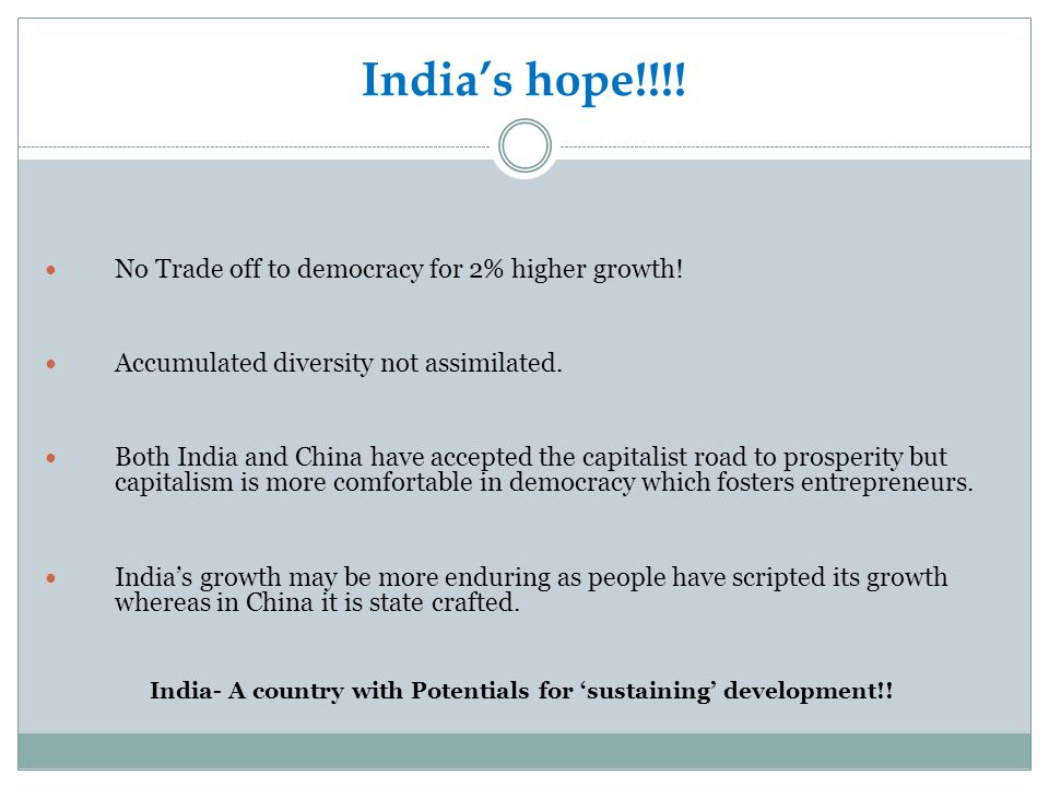 India- A country with Potentials for 'sustaining' development!!