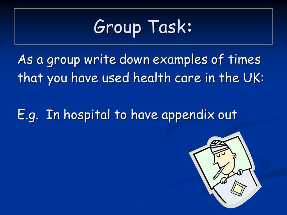 Group Task: As a group write down examples of times