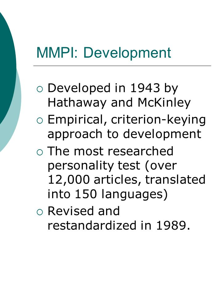 development of the minnesota multiphasic personality Clinical limitations of three minnesota multiphasic personality inventory short forms gression techniques in the development of a requests for reprints should be sent to james n butcher, department of psychology, elliott hall.