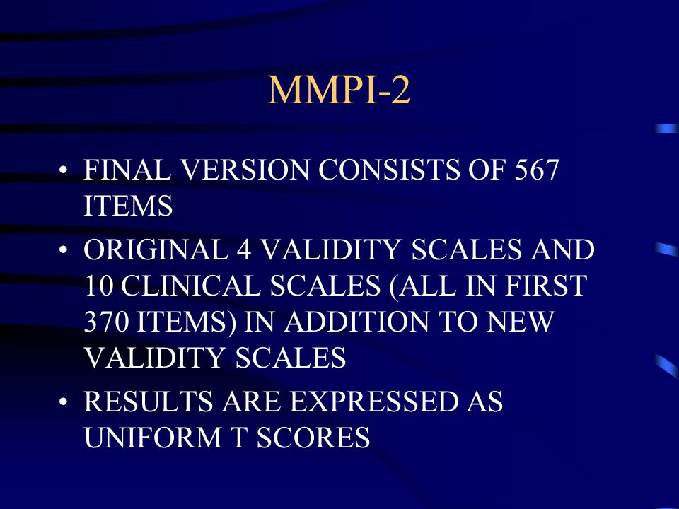Minnesota multiphasic personality inventory ppt video online download 25 mmpi 2 final version consists of 567 items fandeluxe Gallery