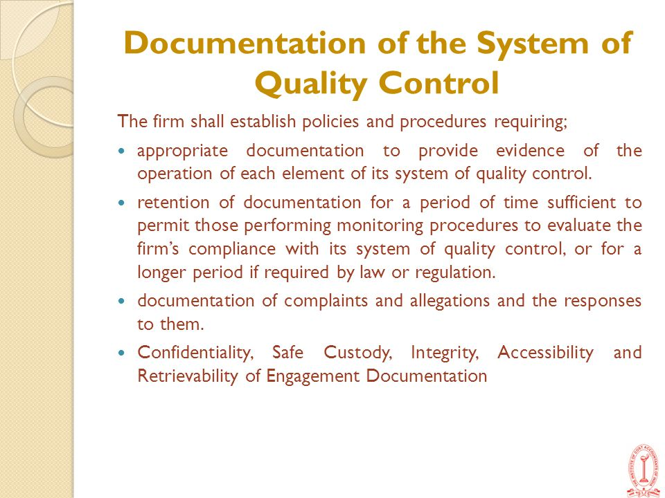 Documentation of the System of Quality Control