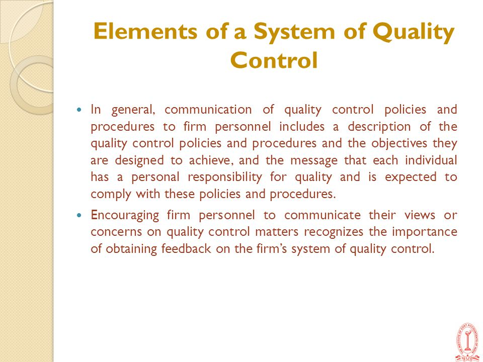 Elements of a System of Quality Control