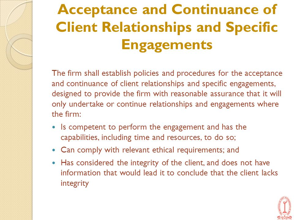 Acceptance and Continuance of Client Relationships and Specific Engagements
