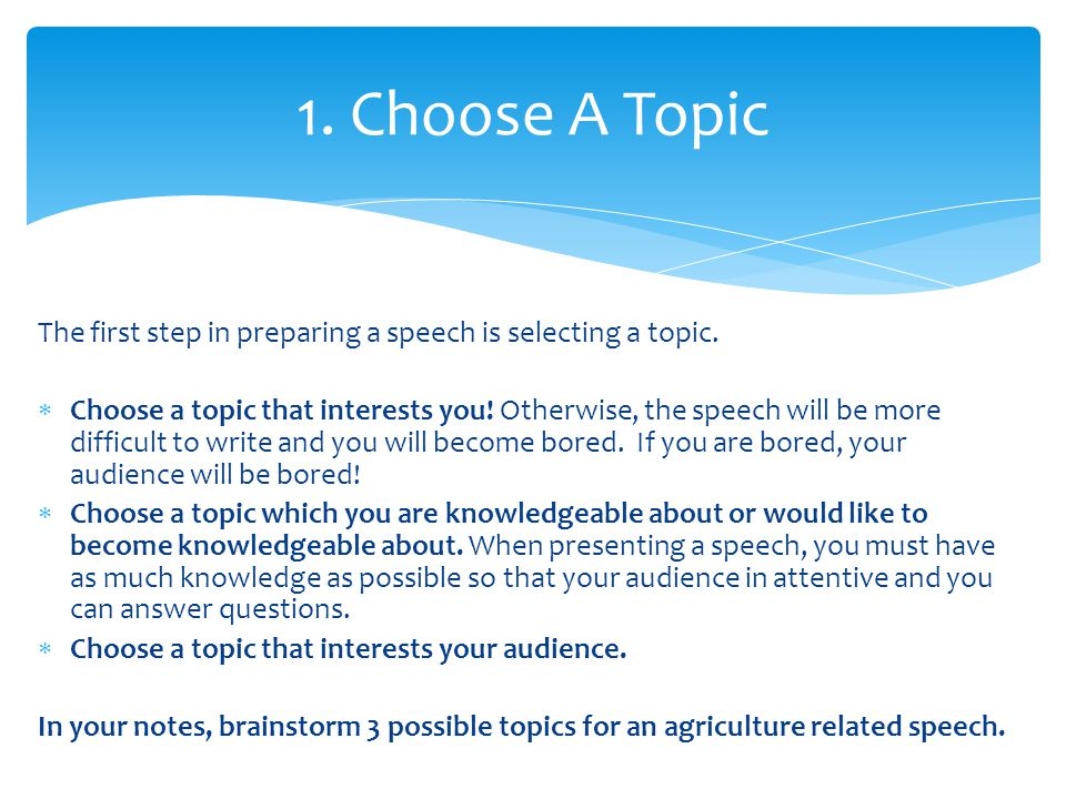 speech possible topics This article reveals three questions you must ask before choosing your speech topic, and how the answers lead you to great speech topics for you and your audience the secret three questions before considering a speech topic, ask yourself these three questions.