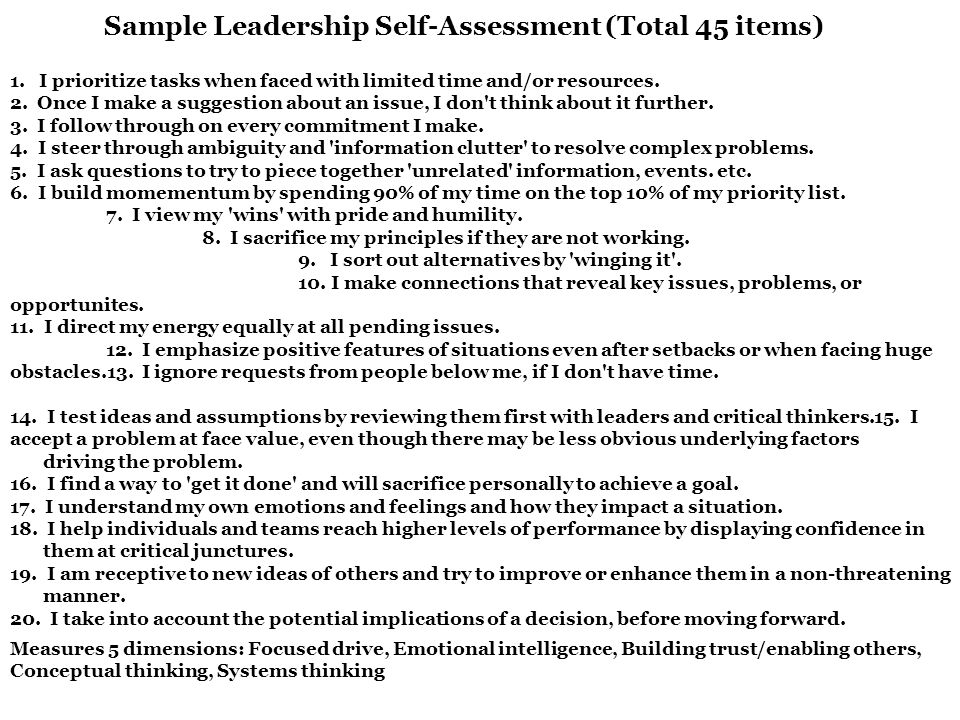Beautiful Leadership Self Assessment Contemporary - Best Resume