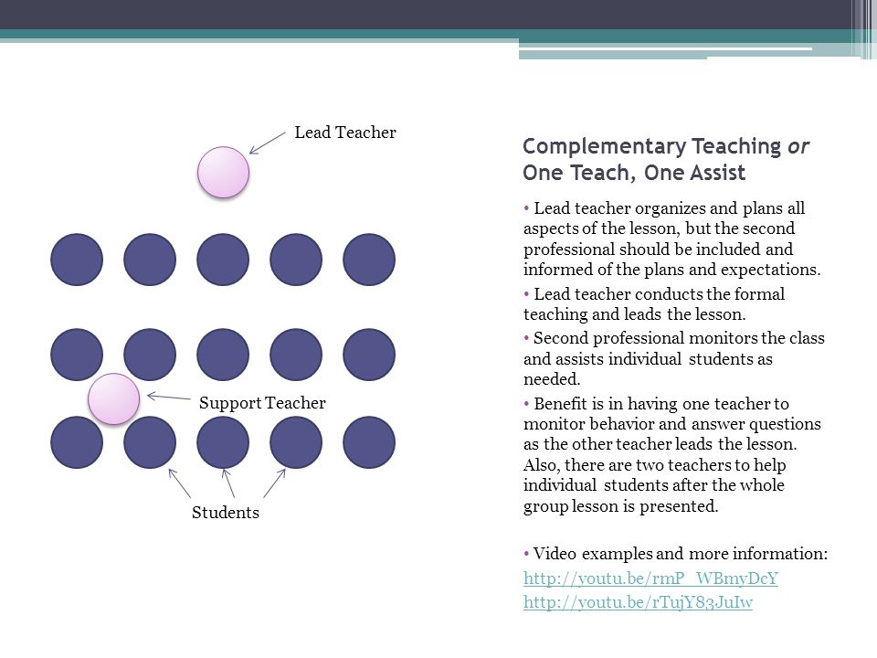 Complementary Teaching or One Teach, One Assist