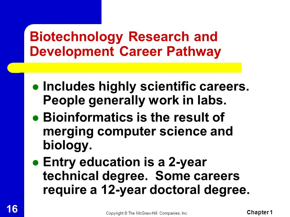 Biotechnology Research and Development Career Pathway