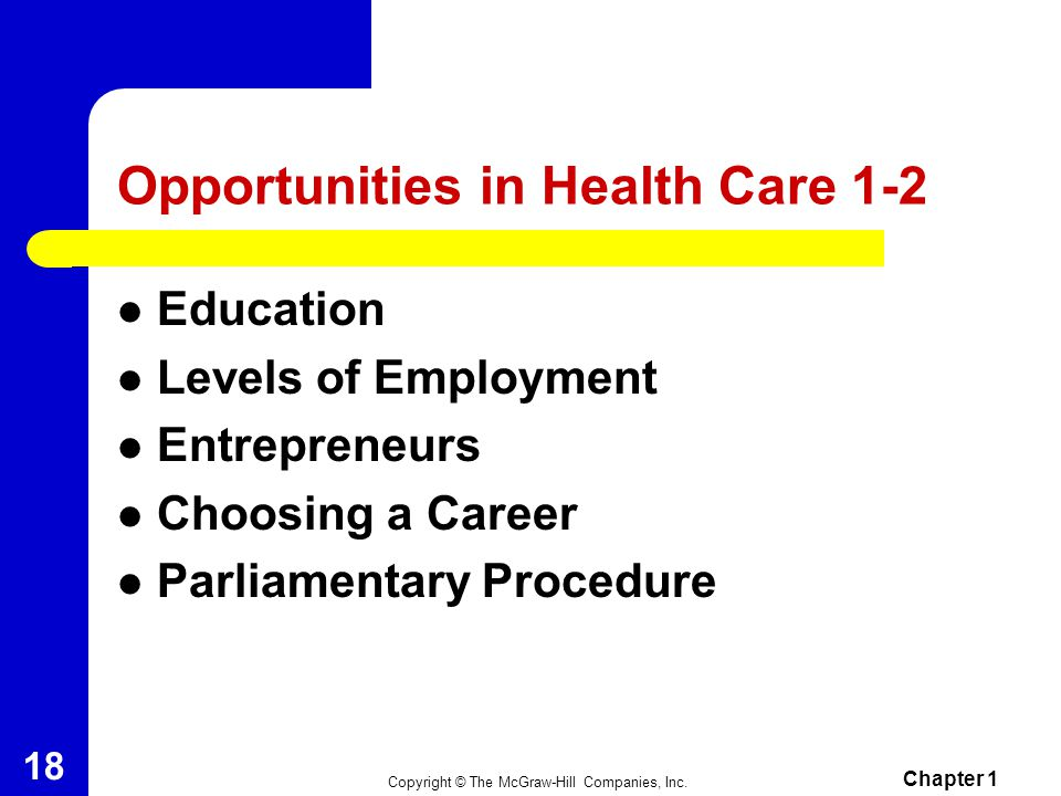 Opportunities in Health Care 1-2