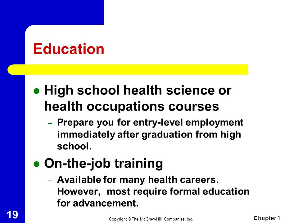 Education High school health science or health occupations courses