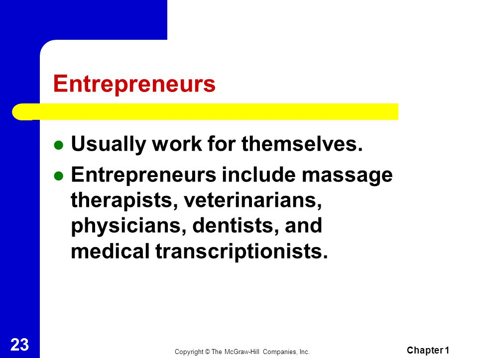 Entrepreneurs Usually work for themselves.