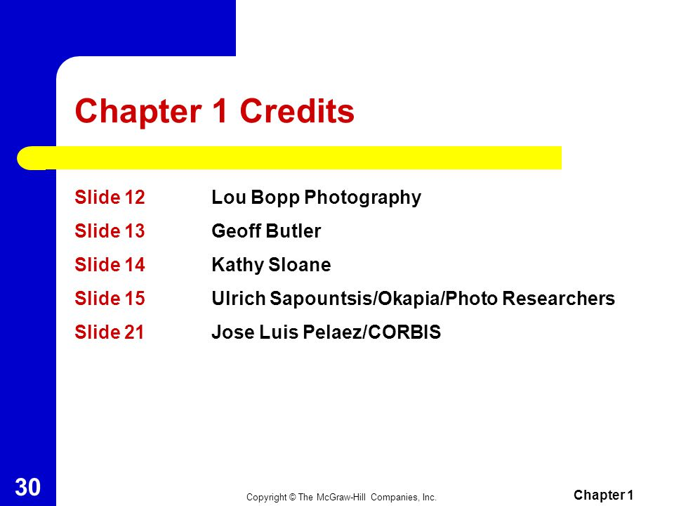 Chapter 1 Credits Slide 12 Lou Bopp Photography Slide 13 Geoff Butler