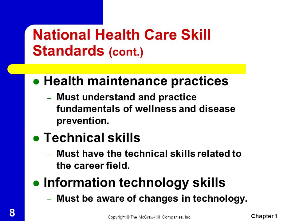 National Health Care Skill Standards (cont.)
