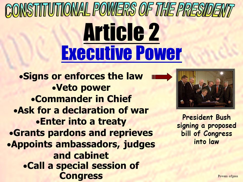 Article 2 Executive Power CONSTITUTIONAL POWERS OF THE PRESIDENT