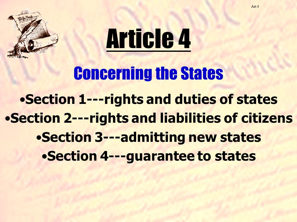 Article 4 Concerning the States
