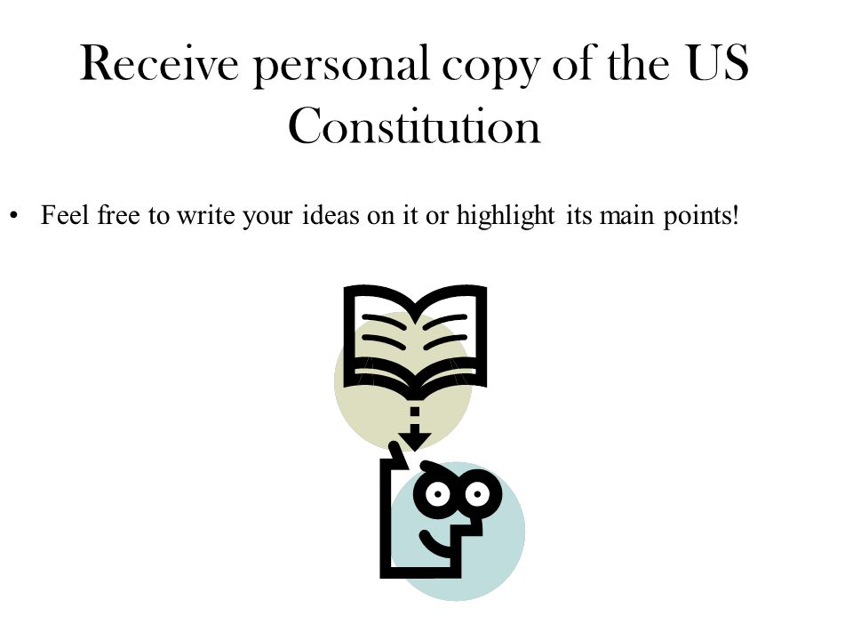 Receive personal copy of the US Constitution