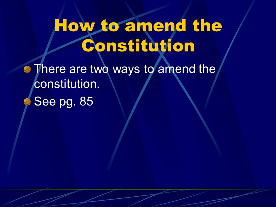 How to amend the Constitution