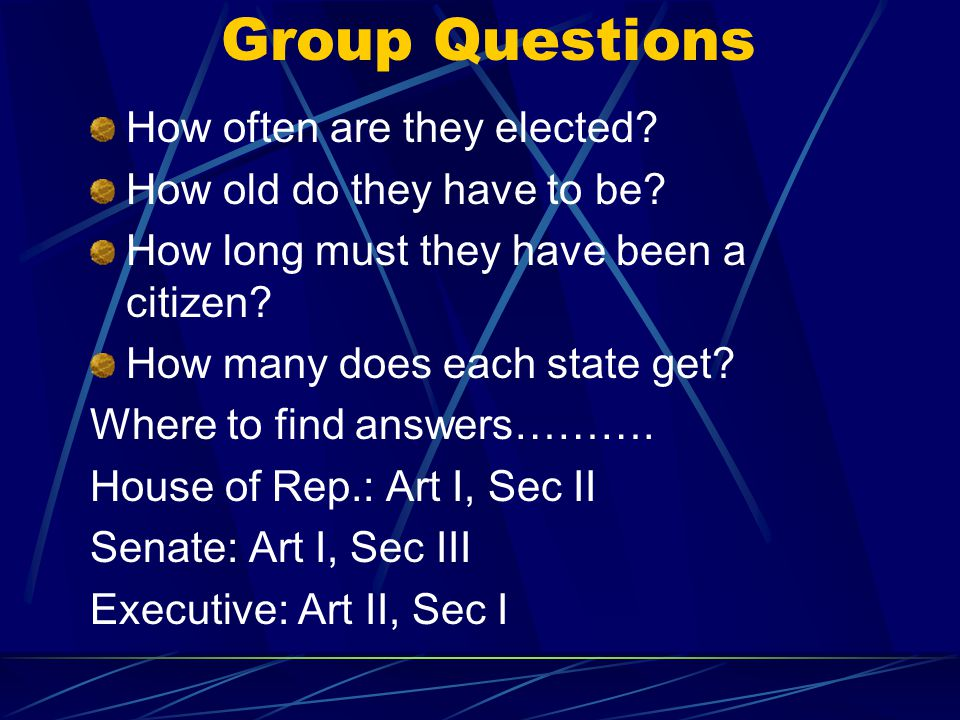 Group Questions How often are they elected