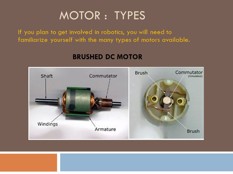 Essentials of motors and motor driver ppt download for Types of dc motor