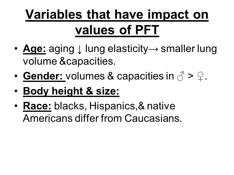 Variables that have impact on values of PFT