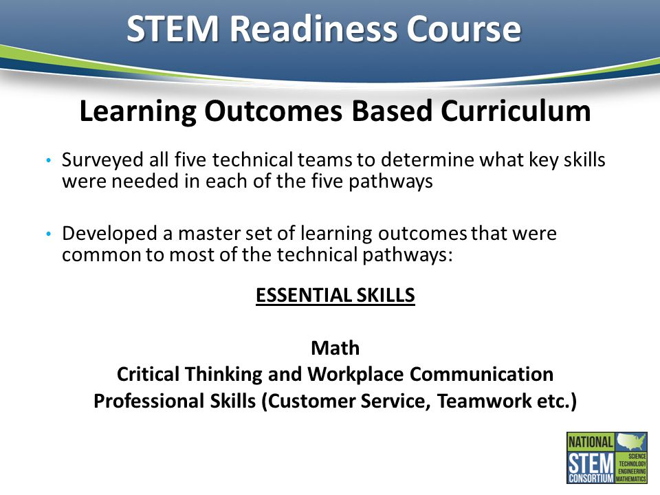 STEM Readiness Course Learning Outcomes Based Curriculum